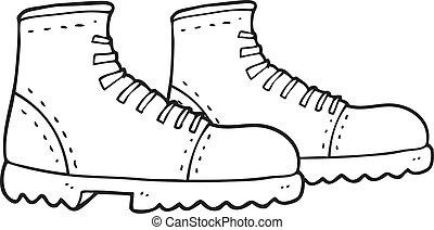 andar, pretas, botas brancas, caricatura