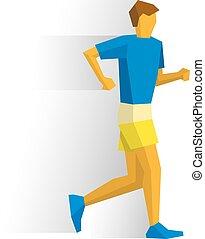 andar, shorts., desportista, passeio, t-shirt, raça, competição
