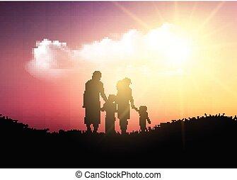 andar, silueta, família, céu, contra, pôr do sol