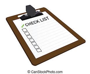 anexado, lista conferição, área de transferência