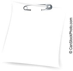 anexado, papel, folha, alfinete segurança