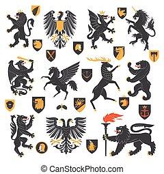 animais, elementos, heraldic
