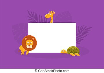 animais, leão, girafa, branca, segurando, bandeira, em branco, tartaruga, vazio, ilustração, tábua, africano, vetorial, sinal, cute