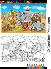 animais, livro, selvagem, coloração, caricatura, safari
