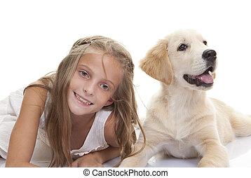 animal estimação, criança, filhote cachorro, cão, feliz