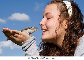 animal estimação, hamster, criança
