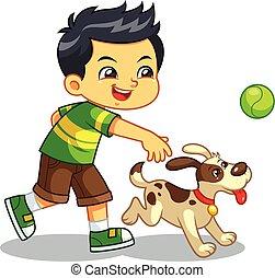 animal estimação, menino, seu, cão, tocando