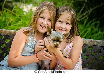 animal estimação, seu, crianças, feliz