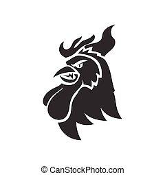 animal, galinha, isolado, modelo, mascote, galo, cabeça, silueta