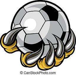 animal, garra, monstro, futebol americano segurando, bola, futebol