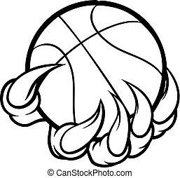 animal, garra, monstro, ou, segurando basquetebol, bola