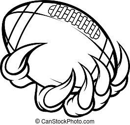 animal, garra, monstro, segurando, bola futebol americano americana