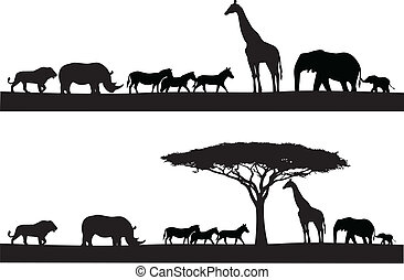 animal, safari, silueta