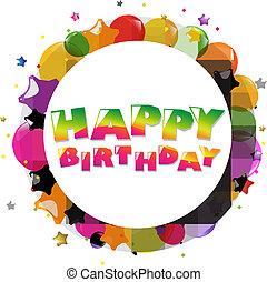 aniversário, balões, cartão, coloridos, feliz