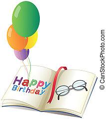 aniversário, balões, saudação