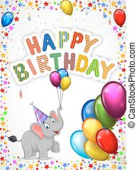 aniversário, caricatura, elephan, feliz