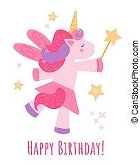 aniversário, cor-de-rosa, cartão postal, bens, branca, isolado, cute, mice., imprimindo, wand., scrapbooking, clip, magia, impressão, experiência., desejo, desenho, arte, unicórnio, fulfills, vetorial, ilustração