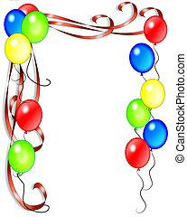 aniversário, fitas, balões