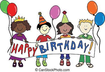 aniversário, multicultural, crianças
