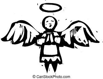 anjo, woodcut