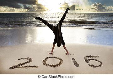 ano, 2015, novo, praia, amanhecer, feliz
