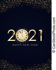 ano, 2021, ilustração, feliz, escuro, experiência., feriado, novo