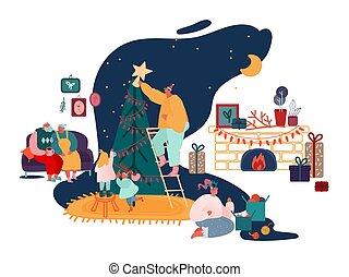 ano, natal, família, feliz, lareira, pais, jogo, presentes xmas, estação, decorando, scenes., carols, cante, crianças, ilustração, novo, vetorial, inverno, embalagem, árvore, celebração