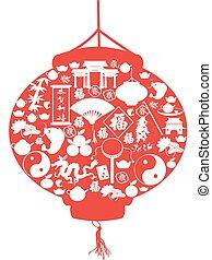 ano novo, lanterna chinesa