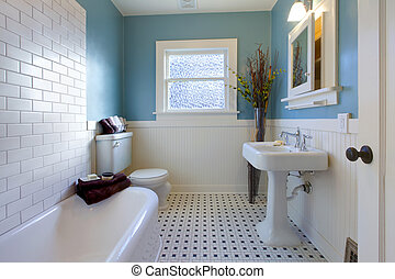 antigüidade, azul, banheiro, desenho, luxo