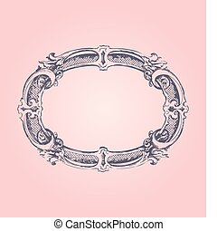 antigüidade, cor-de-rosa, quadro