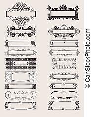 antigüidade, elementos, ornamento, vetorial, jogo, bordas, style.