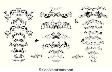 antigüidade, elementos, vindima, title., livro, desenho, separators, floral
