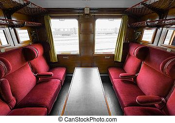antigüidade, interior, trem