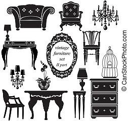 antigüidade, jogo, -, isolado, silhuetas, pretas, mobília