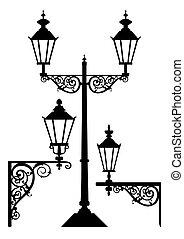 antigüidade, lâmpadas, jogo, luz rua