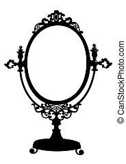 antigüidade, maquilagem, silueta, espelho