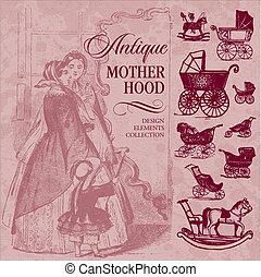 antigüidade, maternidade, jogo, (vector)