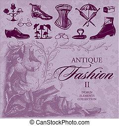 antigüidade, moda, jogo, (vector)