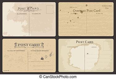 antigüidade, postais, jogo, vetorial