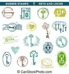antigüidade, scrapboo, jogo, teclas, -, seu, borracha, fechaduras, selos, vetorial, desenho, ou