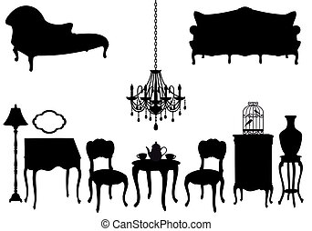 antigüidade, vetorial, mobília