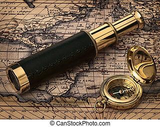 antigüidade, vindima, relógio, mapa