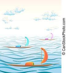 antiga, nuvens, ilustração, vetorial, mar, ondas, paisagem, boats.