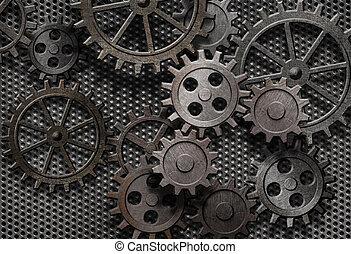 antigas, abstratos, máquina, enferrujado, partes, engrenagens