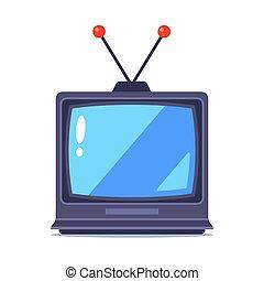 antigas, branca, tv, experiência., antena