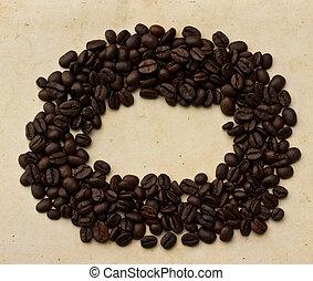 antigas, café, papel, feijões