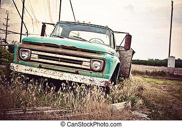 antigas, car, rota, nós, enferrujado, histórico, 66, ao longo
