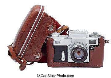 antigas, cobertura, isolado, experiência., câmera, branca