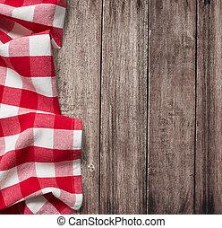 antigas, copyspace, tabela madeira, toalha de mesa, piquenique, vermelho
