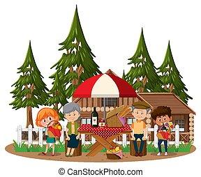 antigas, crianças, parque, par, isolado, muitos, piquenique